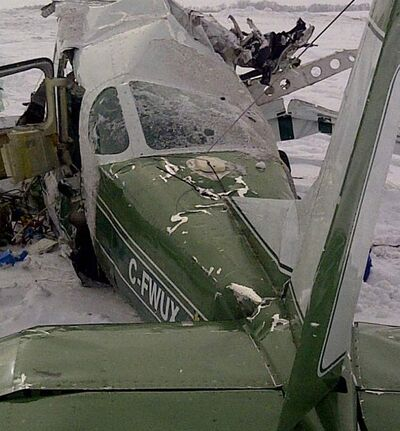 The plane crashed into a farmer's field north of Waskada.