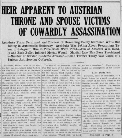 Coverage of the assassination that kicked off the First World War, in the Brandon Daily Sun on June 29, 1914.