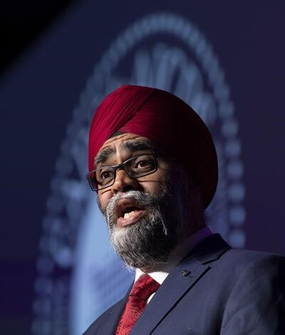 Defence Minister Harjit Sajjan speaks at Canada's global defence & security trade show in Ottawa, Wednesday May 29, 2019. Sajjan is asking Canada's military ombudsman to investigate racism in the Armed Forces. THE CANADIAN PRESS/Adrian Wyld