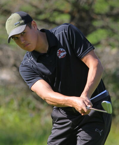 Zach Whitecloud is seen during qualifying play in the Tamarack golf tournament, Monday afternoon at the Clear Lake Golf Course.