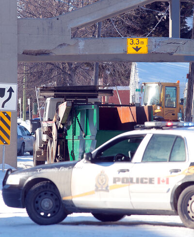 In this January photo, the Eighth Street bridge is seen after a private dump truck hit the structure, forcing its closure. The cost to repair the bridge is pegged at $87,700, which the city hopes Manitoba Public Insurance will cover.
