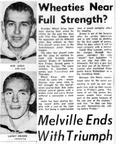A Brandon Sun story details Brandon Wheat Kings defenceman Bob Jaska's struggle with a late season injury on March 3, 1965.