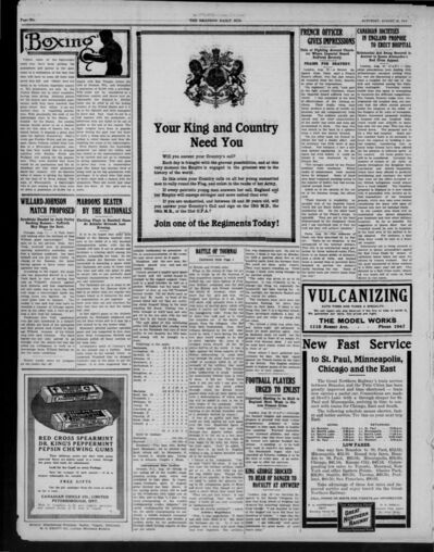 Large recruitment ads for military service were a common feature in the pages of the Brandon Daily Sun during the latter half of 1914.