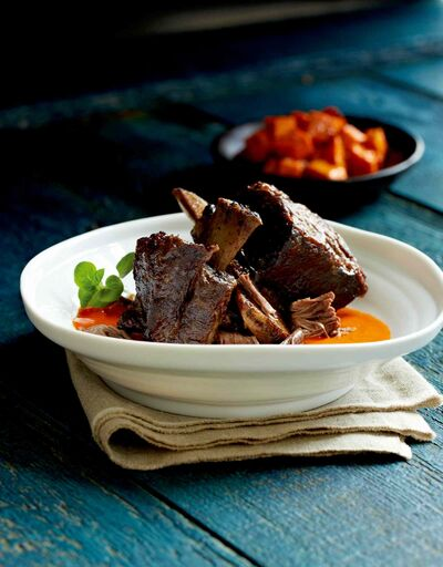 Braised buffalo ribs with red pepper pesto