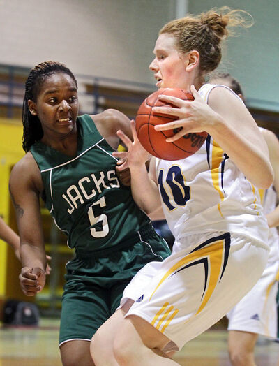 Brandon rookie Aimee Johnston, right, has been a bright spot in a winless first half for BU.