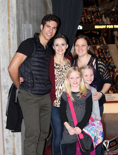 BobbiSchram (top right) and daughters Sydney and Kendra pose with Virden pairs figure skaters Rudi Swiegers (left) and Paige Lawrence at the Canadian championships in Ottawa.