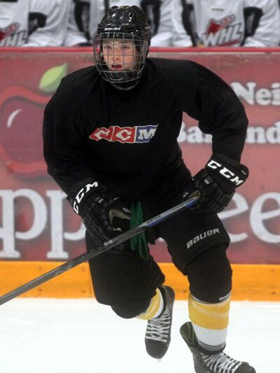 Wheat Kings rookie Ian Mitchell at a team practice, Thursday evening.