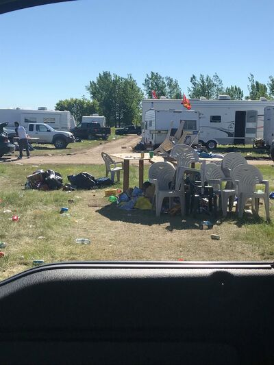 A pile of chairs and a table were some of the many items left for volunteers to clean up after Dauphin's Countryfest.
