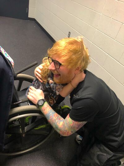 Ed Sheeran spends some time with Scarlett Jervis before his concert in Minneapolis in October.