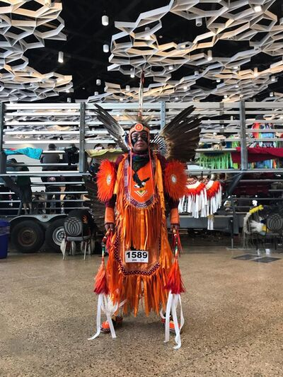 A fancy dancer shows of their regalia at Virden Culture Day. (Submitted)