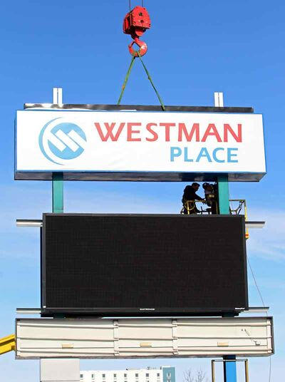 A new sign and digital display for Westman Place is installed at the entrance to the Keystone Centre grounds on 18th Street last year.