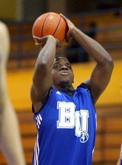 Forward Pacome Matulu of the BU Bobcats men's basketball team will attend Bisons spring camp as a linebacker this weekend.