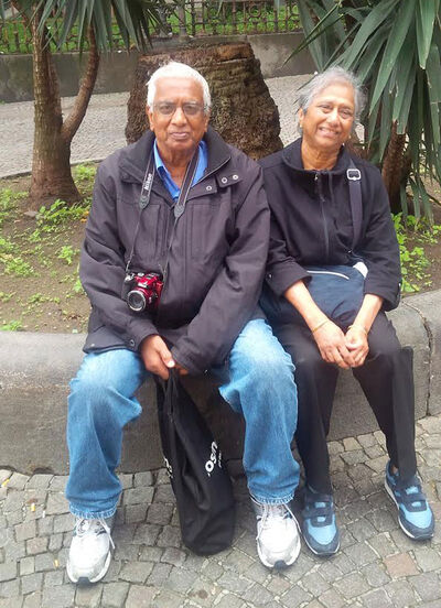 Dr. Davloor sits with wife Mani on recent trip to Rome.