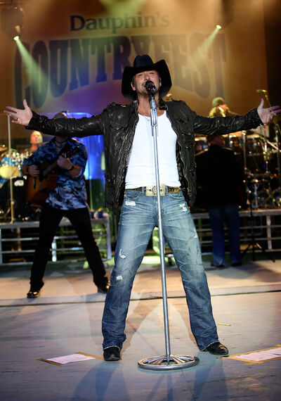 Tim McGraw revs up the crowd during the 2009 edition of Dauphin's Countryfest.