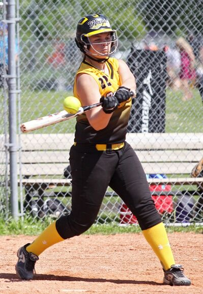 Jazzy Pipella of the Westman Magic connects with the ball during Manitoba Ladies Super Softball League Under-16 Division games against the Angels in June.