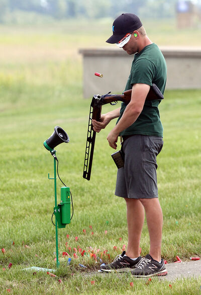 Lamont reloads during last weekend's provincial trap shooting championships at the Brandon Gun Club.
