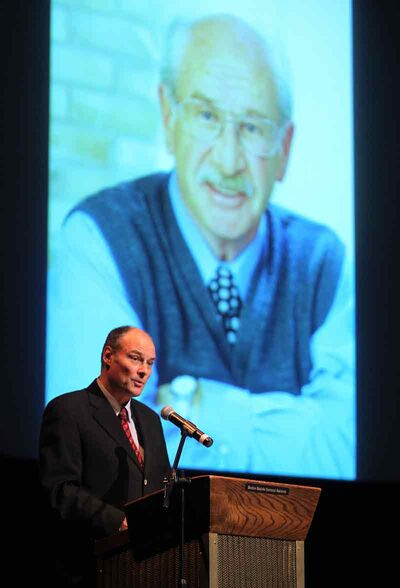 Brandon East NDPMLA Drew Caldwell speaks during a memorial service for Errol Black at the WMCA on Thursday afternoon.