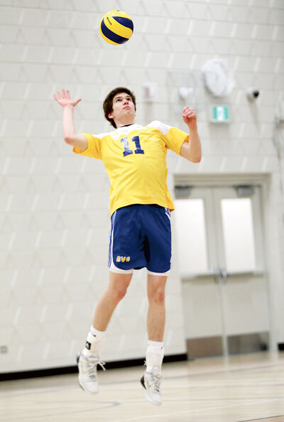 Mason Hodgson serves for the Brandon Volleyball Club during the 18U boys' club provincials last weekend.