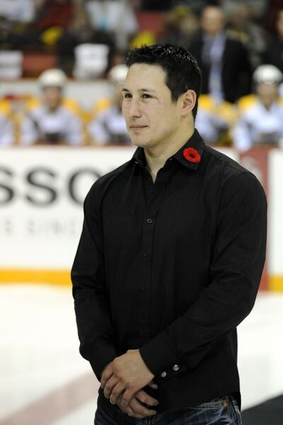 Former Brandon Wheat King Jordin Tootoo was introduced before Sunday's game at the 2010 MasterCard Memorial Cup at Westman Place.