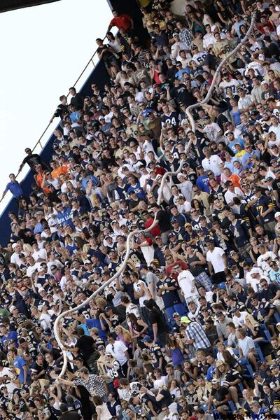 The beer cup snake in Section S at Canad Inns Stadium in Winnipeg last Friday.