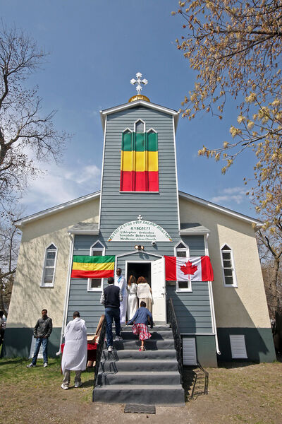 Members of the Ethiopian communities in Brandon and Winnipeg pack the Ethiopian Orthodox Church at the corner of Queens Avenue and Fifth Street on Sunday to mark the first anniversary of the church becoming an official place of worship.