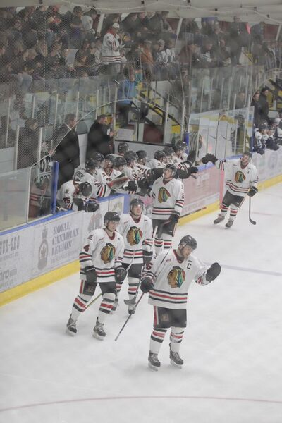 Fans applaud the Neepawa Natives as they celebrate a goal during Sunday's MJHL playoff game.