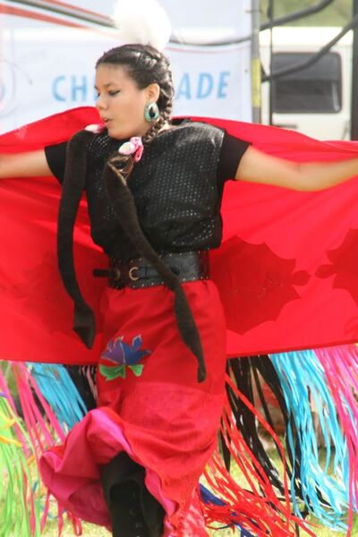 A dancer performs during Canada Day festivities at the Riverbank Discovery Centre on Saturday.