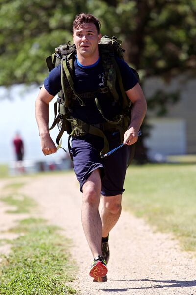Gunner Kenny Durocher with 1 RCHA at CFB Shilo sprints to the finish line in Ninette on Thursday morning to complete a training race for the 2017 Mountain Man Challenge.