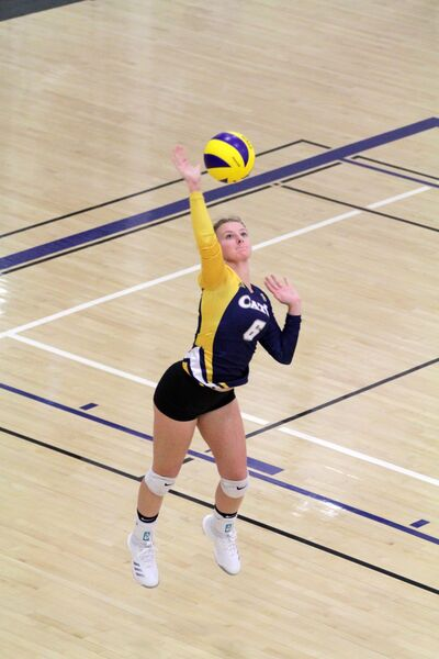 Virden's Megan Nahachewsky, shown serving a ball for Cats Volleyball Club at the Healthy Living Centre on Sunday, signed with the Lakehead University Thunderwolves for the upcoming U Sports women's volleyball season.