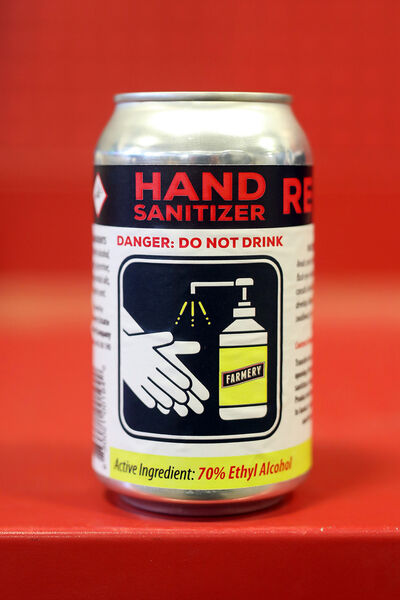 A can of hand sanitizer made at Farmery Estate Brewery in Neepawa. (Tim Smith/The Brandon Sun)