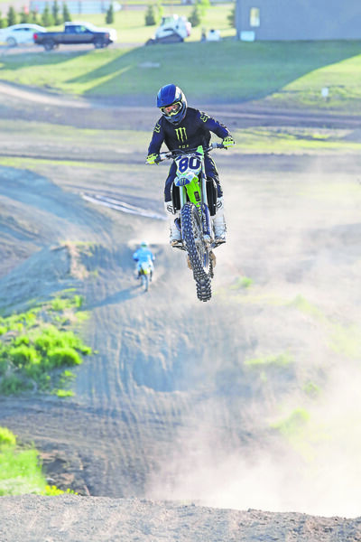 Brett Konkin, owner of the Transcanada Motorsports Moto Park near Kemnay, catches air while riding with friends last summer. The track will finally get a chance to host its first provincial event on Aug. 8.