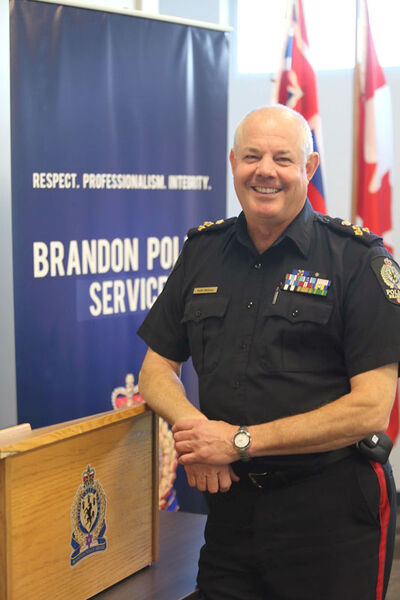 Brandon Police Service Chief Keith Atkinson will soon be stepping down from his post as the city's top cop. He came to the Wheat City six years ago after a lengthy career in Saskatoon. He and his wife, Terry Leech-Atkinson, plan to remain here after he retires, since she's originally from Brandon, and the chief has always been a big fan of the city.