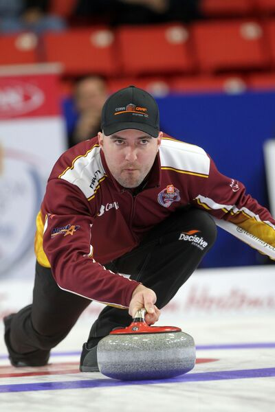 Saskatoon's Steve Laycock throws a rock during his team's afternoon draw against Mike McEwen at the Home Hardware Canada Cup of Curling at Westman Place in Brandon on Wednesday. Laycock beat McEwen and later defending champion Kevin Koe to get to 2-0.