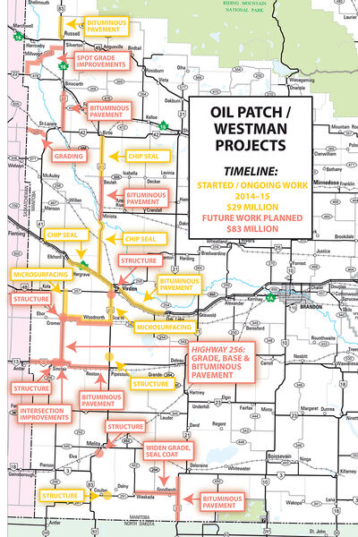 The province has pledged more than $110 million in road and highway upgrades for the Westman oilpatch, with an emphasis on the important Highway 256 south of Cromer.