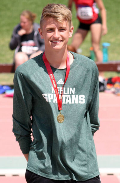 Neelin's Brodie Gill won a gold medal in the 100-metre hurdles at the provincial high school track and field championship in Winnipeg on Saturday.