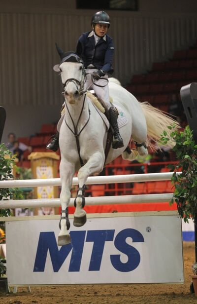 Karen Cudmore, on Ceonto, went clear and fast to win the the MTS Grand Prix at the Royal Manitoba Winter Fair on Saturday night at Westman Place.