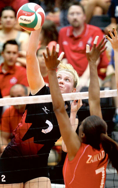 Brandon's Lisa Barclay (pictured) and Dauphin native Tabi Love will play for Canada's women's volleyball team in the FIVB Grand Prix, beginning next weekend in Peru.