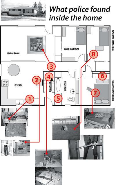 A floor plan map of the Elgin-area home where a boy shot his sister in November 2011. Police found multiple weapons strewn about the messy home, including five long guns, two bows and a sword. 1. Police believe that the bullet that was fired came from a kitchen drawer, in which they found dozens more. 2. On top of the fridge, they also found a box of bullets and a loaded magazine. 3. A sharpened samurai-style sword was stashed in a hallway alcove. 4. In the basement, police found scattered ammunition, plus they uncovered a crossbow, a compound bow and arrows on a table. 5. In a closet by the back door, police found a shotgun as well as the rifle that was used. 6. Police found another two rifles in the master bedroom closet. 7. Police found a rifle lying on a bed in the master bedroom, which also contained a crib. 8. A bullet hole shot through the door to the girl's bedroom showed that the gun had to have been held at a low angle. Inside the room, police found a spent slug and traces of blood.