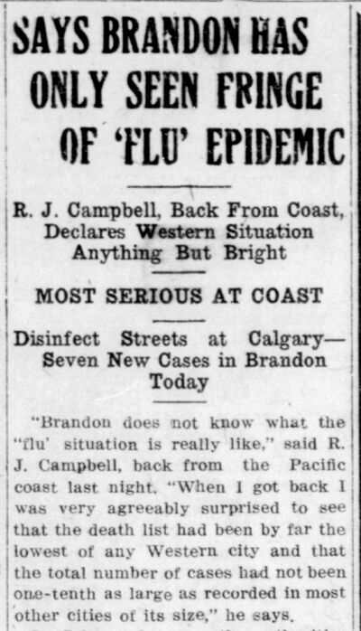 Headlines featured on the front page of the Oct. 30, 1918 edition of The Brandon Sun wouldn't look out of place in 2020.