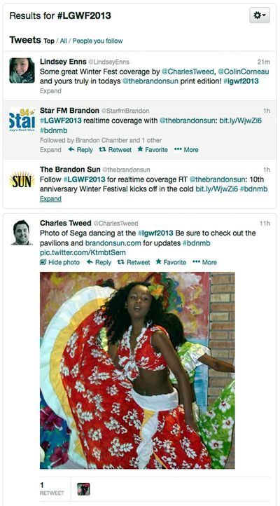 Using the hashtag #LGWF2013, the Brandon Sun is collecting tweets from the Winter Festival in an online widget.