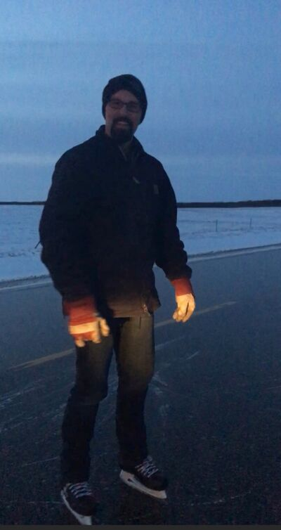Wade Eftoda's wife captured video of her husband skating on the frozen asphalt of Provincial Road 482 on his way to his Dropmore home, near the provincial border with Saskatchewan, Wednesday night. The video was viewed more than 60,000 times in the first 24 hours.