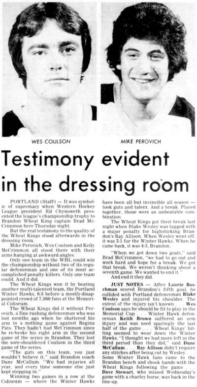 Brandon Wheat Kings defenceman Wes Coulson is profiled in the May 4, 1979 edition of the Brandon Sun.