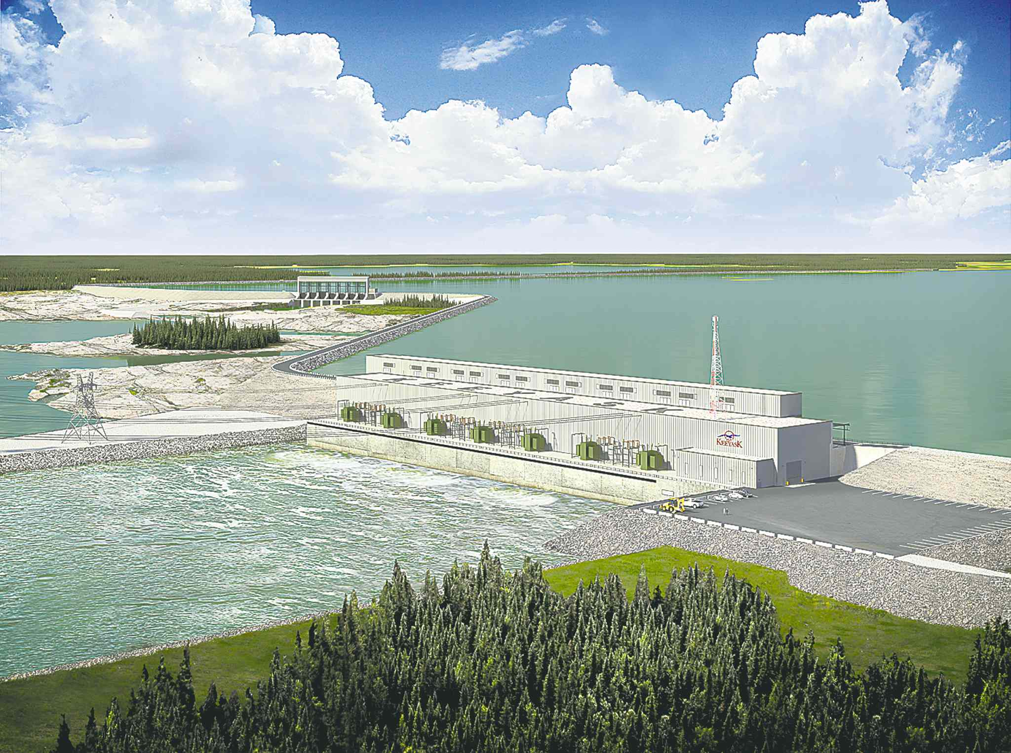 Artist's rendering of the proposed Keeyask generating station.