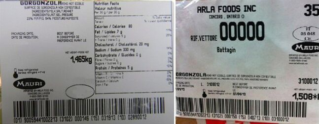 Labels for Mauri brand Gorgonzola cheese (left) and Arla Foods Inc.-Gorgonzola cheese (right), subject ofrecalls, are shown. THE CANADIAN PRESS/HO, Canadian Food Inspection Agency