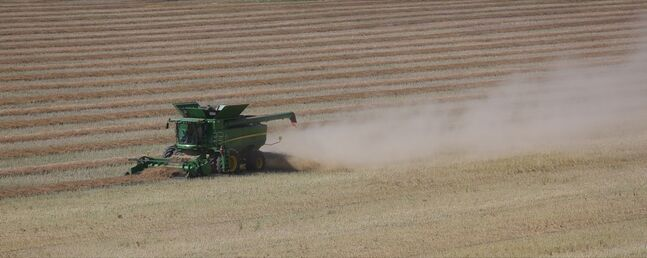 A combine brings in a crop in the the Assiniboine River valley  on Thursday afternoon near Kemnay.