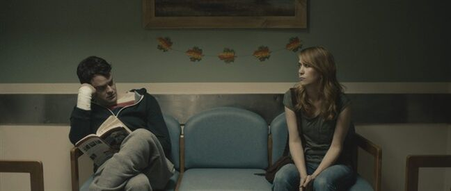 This photo provided by the Sundance Institute shows Bill Hader, left, and Kristen Wiig, in a scene from the film,