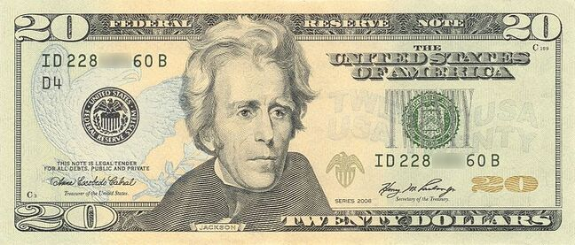 Scan of a 2006-series American $20 bill. Bills may look right, but police advise that you compare their feel as well.