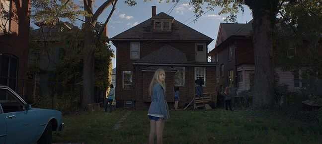 "In this image released by Brigade Marketing, actress Maika Monroe appears in a scene of It Follows, directed by David Robert Mitchell. ""It Follows,"" has been arguably the buzziest American film at Cannes next to Bennett Miller's wrestling drama ""Foxcatcher,"" which boasts a far more famous cast and a major premiere at the Palais des Festival. (AP Photo/Michael Gioulakis via Brigade Marketing)"