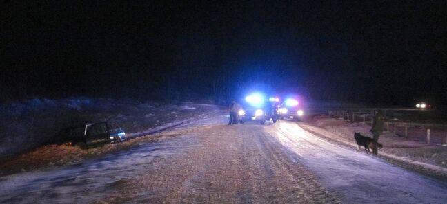 A fleeing truck driver slammed into the ditch after being caught using a spotlight consistent with night hunting. The province arrested seven people in recent days as part of investigations into illegal hunting.