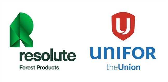The logos for Resolute and Unifor are shown. THE CANADIAN PRESS/HO